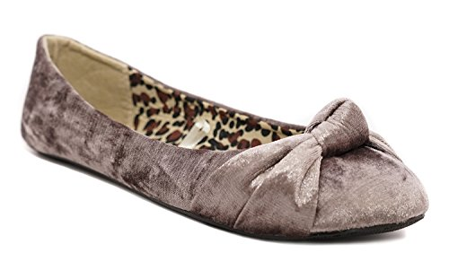 Charles Albert Women's Knotted Front Canvas Round Toe Ballet Flats (6, Grey Crushed Velvet) ()