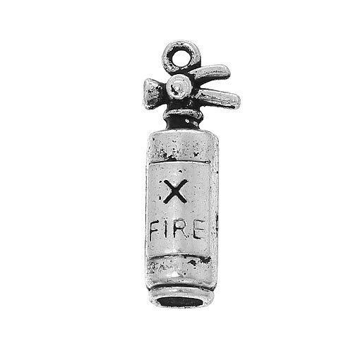 Fire Extinguisher Charm - Pack 4 x Antique Silver Tibetan 23mm Charms Pendants (Fire Extinguisher) - (ZX11670) - Charming Beads