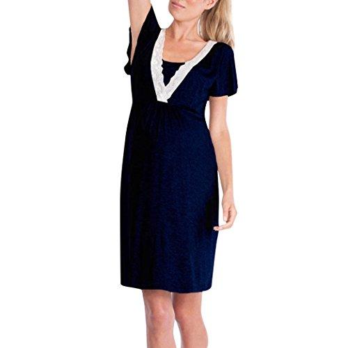 Pijama Encaje De Embarazadas Azul Lactancia Mujeres Vestido ...