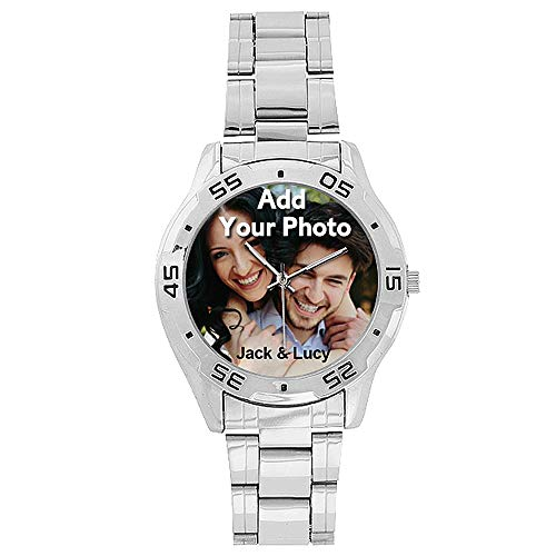 Personalized Custom Stainless Steel Wrist Watch for Men Made Printed Photo Name
