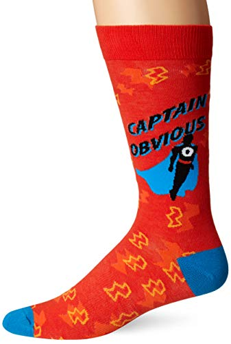 K. Bell Men's Play On Words Novelty Crew Socks, Red (captain Obvious), Shoe Size: 6-12