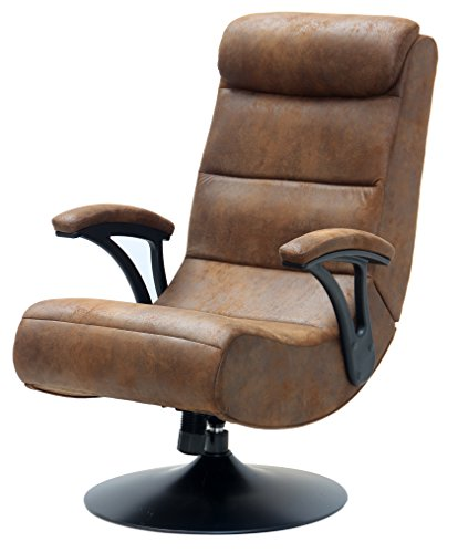 Extreme 2.1 Bluetooth X Rocker Foldable Pedestal Gaming Chair in Distressed Brown Suede by Generic