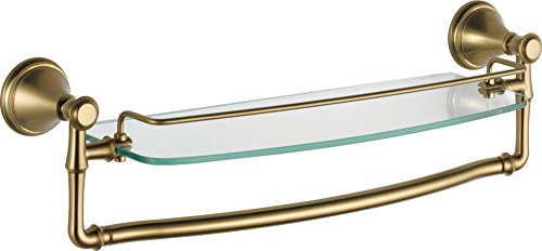 Delta Faucet 79710-CZ Cassidy 18-Inch Glass Shelf with Bar, Champagne Bronze ()