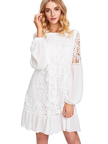 White Ruffle Sleeve (Milumia Women's Floral Contrast Lace Ruffle Chiffon Tunic Dress Large White)