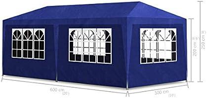 vidaXL Tienda de Fiesta con 6 Paredes de Jardín Acero Polietileno Azul Carpa: Amazon.es: Jardín