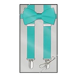Suspender & Bow Tie Set Tiffany Blue Adult