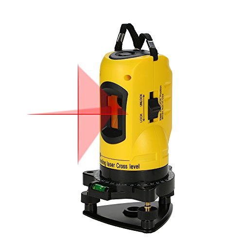 KKmoon Household 2 Lines Cross Laser Level 360 Rotary Cross Line Leveling Can Be Used with Outdoor Receiver Vertical & Horizontal