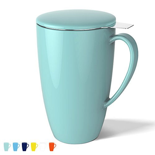 Buy Cheap Porcelain Tea Mug with Infuser and Lid, 15 OZ, Turquoise - by Sweese