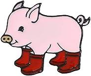 hfjeigbeujfg Brooches Pins,Kawaii Cartoon Pig Rain Boots Animal Alloy Enamel Brooch Pin Party Gift Badge - Yel