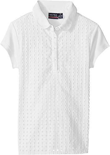 Eyelet Big Shirt - Nautica Girls' Short Sleeve Polo, White, XL