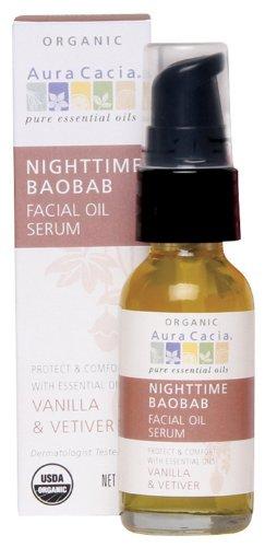 Aura Cacia Nighttime Baobab Facial Oil Serum, 1 Fluid -