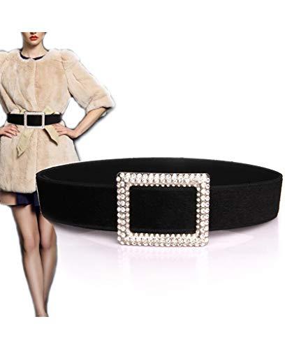 - Amiveil Faux Fur Belt for Women Plush Wide Rhinestones Belts for Winter Coats