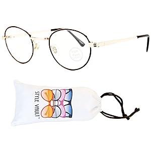 E3080-VP Style Vault Metal Oval Photochromic/Transition Lens Eyeglasses (B3337F Gold/Brown-Clear, UV400)