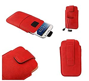 DFV mobile - Leather pouch case pocket sleeve bag with velcro & outer bag & buckle > BLACKVIEW crown, color rojo