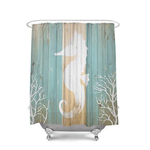 Libaoge Animal Landscape Seahorse Under Water Sealife on Rustic Old Barn Wood Mildew Free Waterproof Polyester Fabric Blackout Draperies Bathroom Shower Curtain (72x72inch, Blue)
