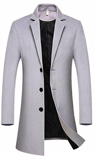 Lapel Outwear Long Men's White Breasted Fashion today Peaked Coat Pea Single UK Wool w0nqUS