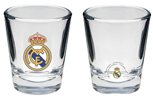 Real Madrid FC Shot Glasses - Set of 4 Shot Glasses - Official Real Madrid Product - Great Gift for Any Real Mad Fan - Features Team Colors and Crest - Real Madrid Shot Glasses - Real Madrid FC Soccer