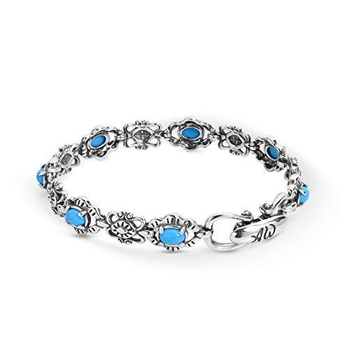 American West Sterling Silver Blue Turquoise Gemstone Link Bracelet Size - Bracelet Silver Navajo Sterling Turquoise