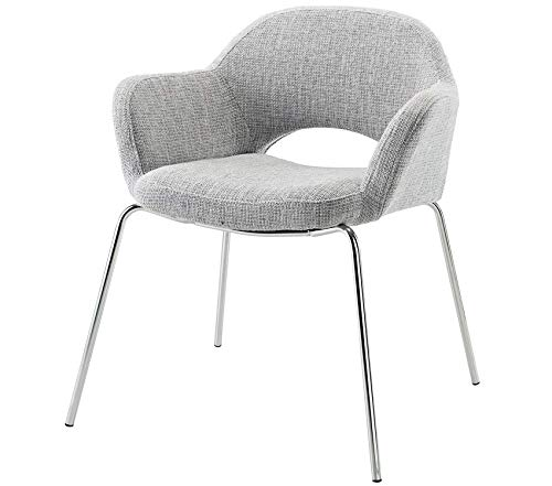 Premium Cordelia Mid-Century Modern Upholstered Fabric Dining Armchair with Chrome Legs in Light Gray