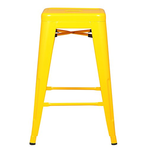 POLY BARK EM-241-YEL-X4-A Trattoria 24 Counter Height Stool, Set of 4 Yellow