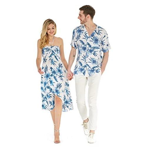 Hawaii Hangover deux hommes correspondant à un blanc robe chemise mis tenue de fête Luau l - femmes m