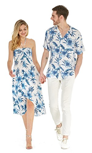 Hawaii Hangover Couple Matching Hawaiian Luau Party Outfit Set Shirt Dress In Day Dream Bloom Men M Women M