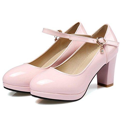Moda Pink Zapatos Thick Mujer JOJONUNU Heel 5HzAHq