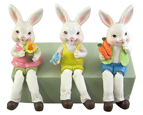 Assorted Pastel Color Easter Bunny Rabbit Shelf Sitter Figurines, Set of 3, 6 Inches