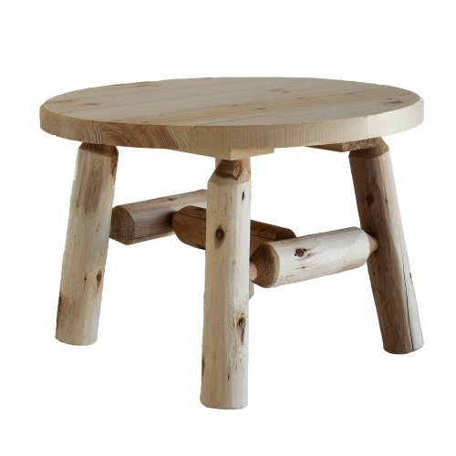 Rustic Cedar Round Table - Lakeland Mills Cedar Log Round Coffee Table, Natural