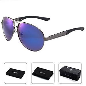 WELUK Mens Aviator Sunglasses Polarized Oversized Wide Frame Big for Men Driving Blue