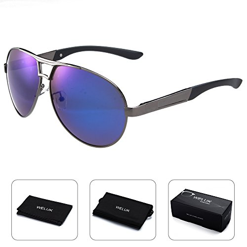 WELUK Mens Aviator Sunglasses Polarized Oversized Wide Frame Big for Men Driving - Sunglasses Huge Aviator