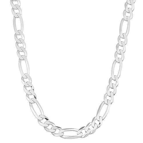 Verona Jewelers 4.2MM, 4.5MM 925 Sterling Silver Classic Figaro Chain - Italian Necklace Figaro Chain (30, ()