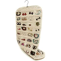 Stone TH Household Double Sided 80 Pockets Hanging Jewelry Organizer Super Space-saving/Time-saving Ideal for Bathroom Travel Use (Canvas)