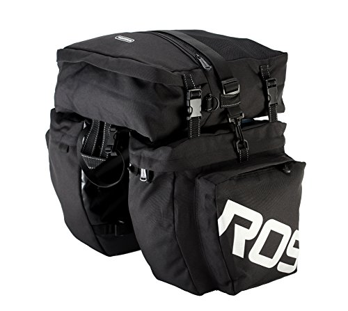 Roswheel 14892 3 in 1 Multifunction Bike Bicycle Rear Rack Panniers Back Seat Cargo Trunk - Black