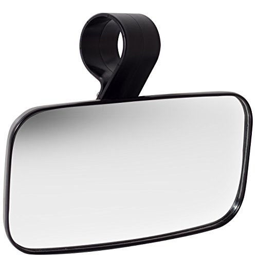 (Rear View Mirror UTV Accessories - Mirrors Best for Wide Angle Center or Side-by-Side Off Road Clear-View - High Impact ABS Housing & Universal Roll Cage Bar Mounts with Shatter-Proof Tempered Glass)