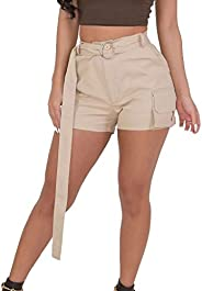 JOFOW Shorts for Women Solid Camo Print Belted Side Pocket Mini Trousers
