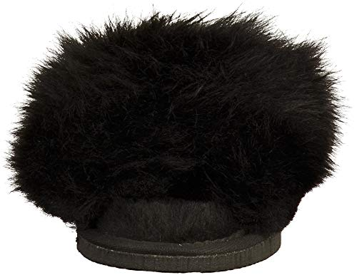 Tessan Femmes Duveteux Pantoufles Noir D'agneau Shepherd Peau Mule Fz4wqxxaS