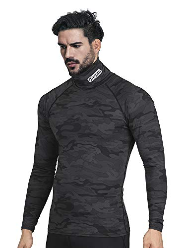 DRSKIN Turtleneck Compression Top Thermal Cool Dry Sports Shirt Baselayer Running Long Sleeve Men (Turtleneck SMBB07, - Apparel Team Long Turtleneck Sleeve