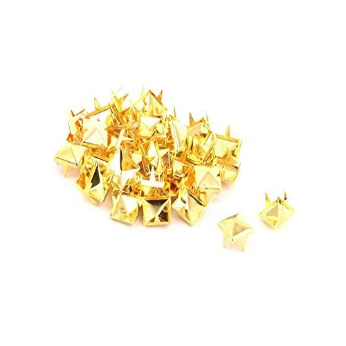 DealMux Metal Clothing Belt Square Pyramid Spike Nailhead Rivet Stud 8mm 40pcs Gold Tone