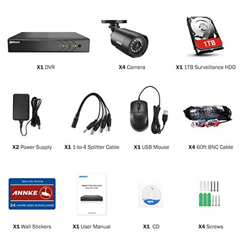 ANNKE 8 Channel Security Camera System 5 in 1 1080P lite H 264 DVR with 1TB  Surveillance Hard Disk Drive and 4 1080P 2 0MP Weatherproof HD TVI Bullet