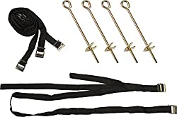 Pure Fun Trampoline Accessory: Heavy-duty Ground Anchor Kit, Set Of 4 (Stakes, Tie-down Straps & D-rings)