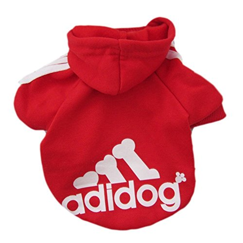 Moolecole Adidog Pet Dog Hooded Clothes Apparel Puppy Cat Warm Hoodies Coat Sweater for Small Dogs(M, Red)