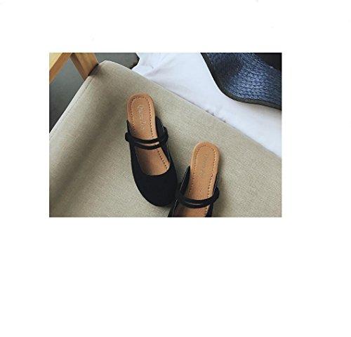 paresseux fond Tongs Ping femme chaussons télévision à en locations accueil avec simple daim IANGL sac black petit plat SOIwwFq