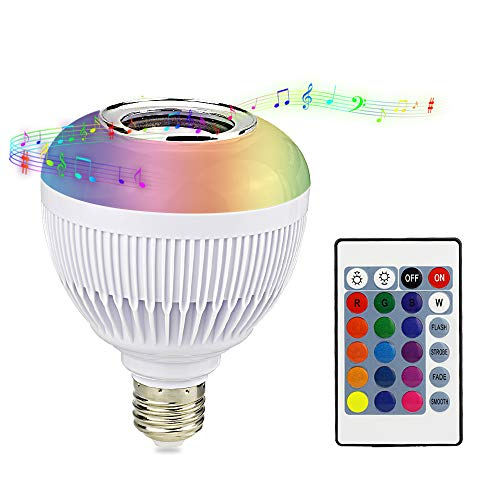 RAYWAY LED Plus Music Bulb Bluetooth Speaker - Multi Color Changing RGB Light - Dimmable Wireless Colorful Smart Mood Night Lamp for Party Kitchen Bedroom with Remote Control