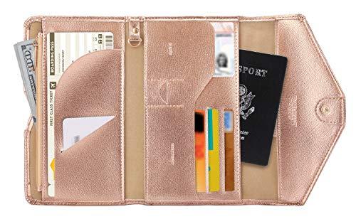 Zoppen Mulit-purpose Rfid Blocking Travel Passport Wallet (Ver.4) Tri-fold Document Organizer Holder, Rose Gold