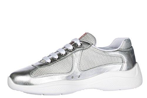 Femme Cuir Argent Sneakers en Prada Baskets Chaussures tRTq4xP1