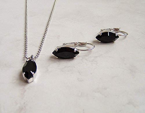 Black Marquise Crystal Earring Necklace Set Simulated Onyx December Mystical Birthstone Gift Idea - Faux Oval Onyx