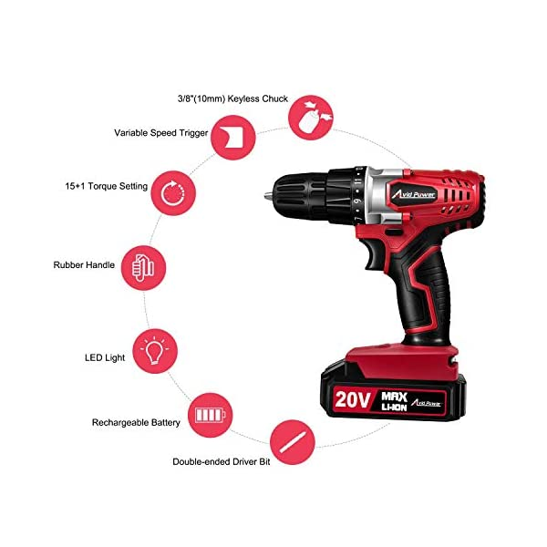 Avid-Power-20V-MAX-Lithium-Ion-Cordless-Drill-Power-Drill-Set-with-38-inches-Keyless-Chuck-Variable-Speed-16-Position-and-22pcs-DrillDriver-Bits