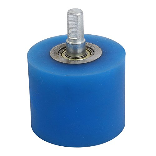 uxcell 10mm Dia Shaft 60mmx50mm Coating Machine Silicon Rubber Wheel Roller Blue by uxcell