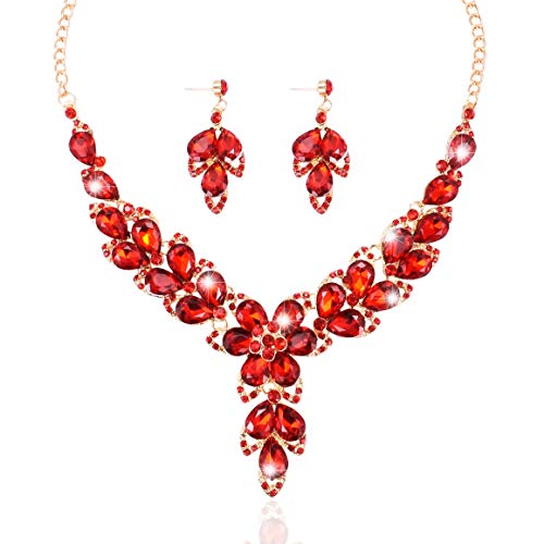 Yuhuan Women Wedding Necklace Bridal Glass Teardrop Necklace and Earrings Statement Jewelry Set (Red)